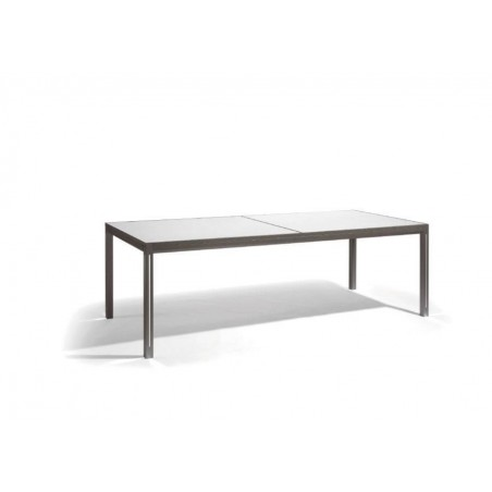 Extendible outdoor dining table Luna by Manutti - Lava frame and led-lighting option, white Trespa top