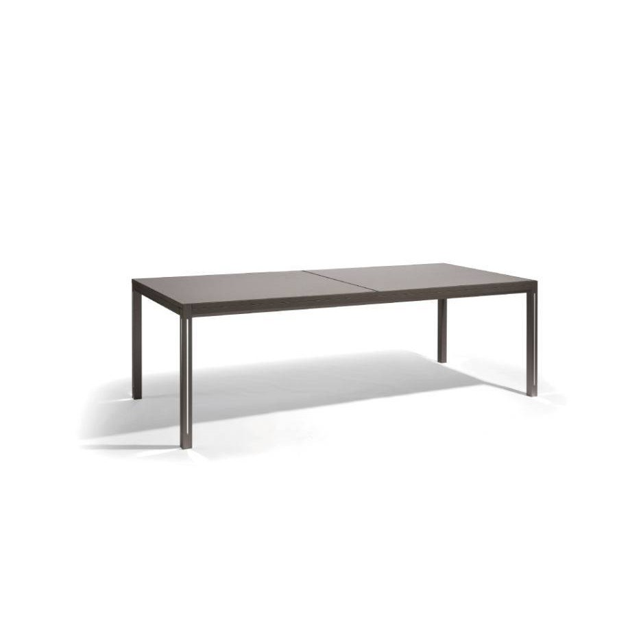 Extendible outdoor dining table Luna by Manutti - Lava frame and led-lighting option, taupe acid etched top