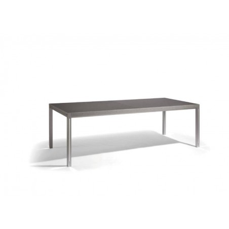 Extendible outdoor dining table Luna by Manutti - Anodised aluminium frame and led-lighting option, black acid etched glass top