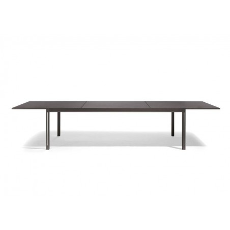 Extendible outdoor dining table Luna by Manutti - Anodised aluminium and led-lighting option, charcoal ceramic top