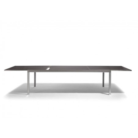 Extendible outdoor dining table Luna by Manutti - Anodised aluminium and led-lighting option, black acid etched glass top