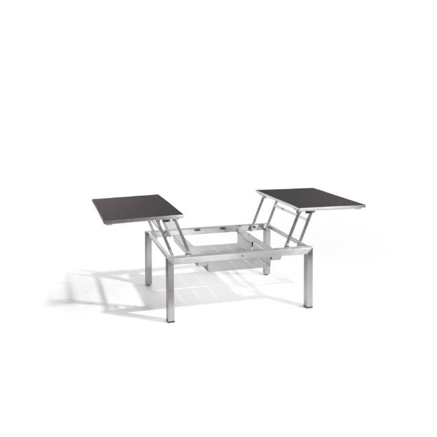 Dual trays outdoor coffee table Trento Tip-Up by Manutti - Anodised aluminium frame, black Trespa top