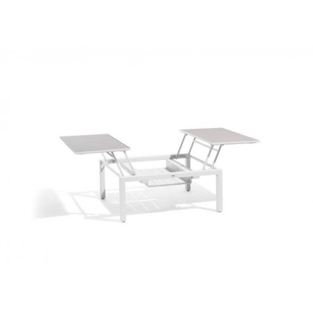 Dual trays outdoor coffee table Trento Tip-Up by Manutti - White frame, sand acid etched glass top