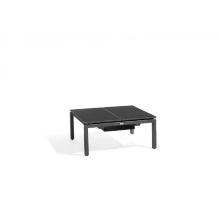 Dual trays outdoor coffee table Trento Tip-Up by Manutti - Lava frame, black acid etched glass top