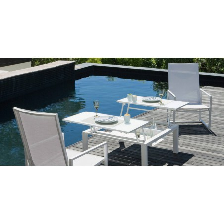 Dual trays outdoor coffee table Trento Tip-Up by Manutti