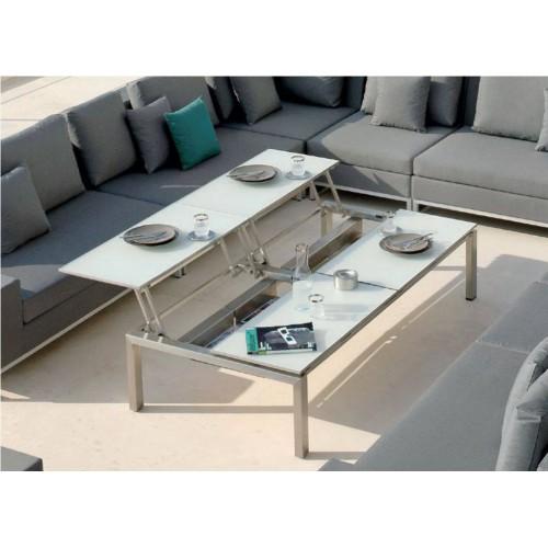 Table basse quadruple plateaux pour l'extérieur Trento Tip-Up de Manutti - Acier inoxydable électropoli, plateau ceramique noir