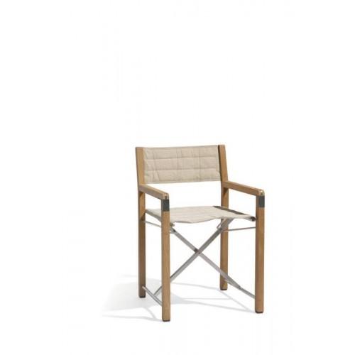 Outdoor chair Cross Teak by Manutti - Batyline ecru
