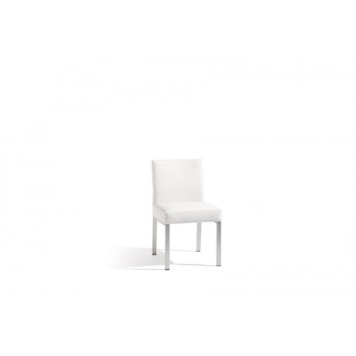 Outdoor dining chair Liner by Manutti - Anodised aluminium frame, white nautic leather seat