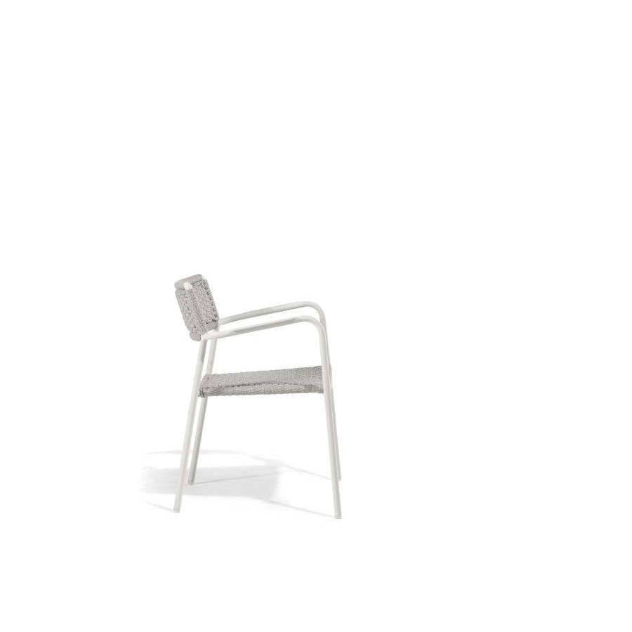 Outdoor chair Echo by Manutti - White frame, silver rope