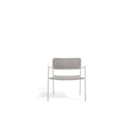 Outdoor armchair Echo by Manutti - White frame, silver rope