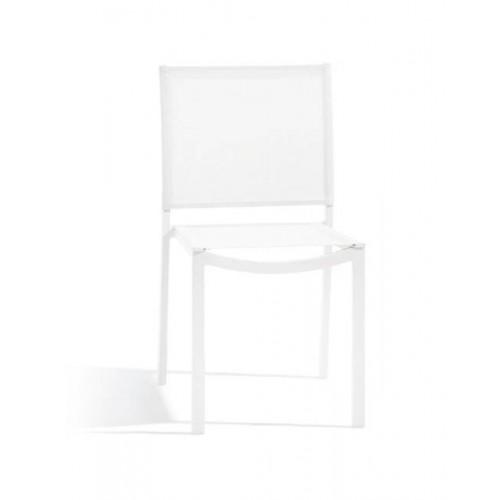Chaise de repas carrée pour l'extérieur Helios de Manutti - Cadre et assise blanc