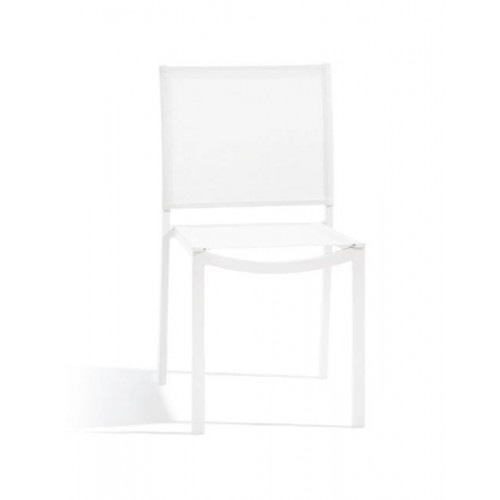 Square outdoor dining chair Helios by Manutti - White frame and seat