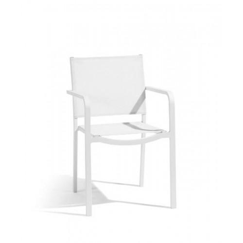 Chaise carrée pour l'extérieur Helios de Manutti - Cadre et assise blanc