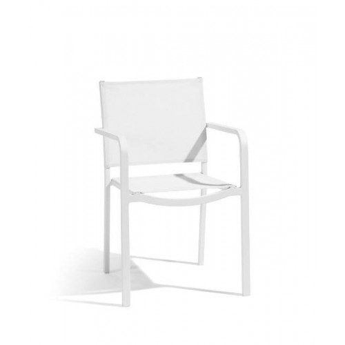 Square outdoor chair Helios by Manutti - White frame and seat