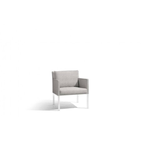 Outdoor armchair Liner by Manutti - White frame, Lotus smokey seat