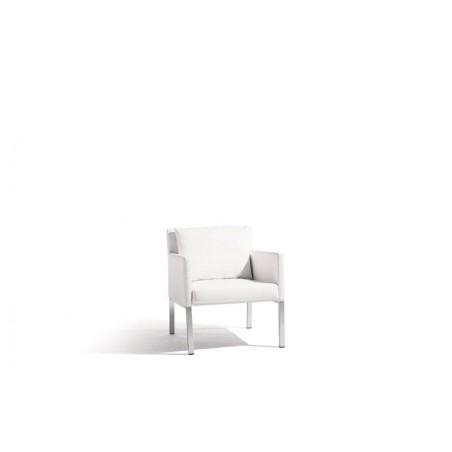 Outdoor armchair Liner by Manutti - Anodised aluminium frame, white nautic leather seat