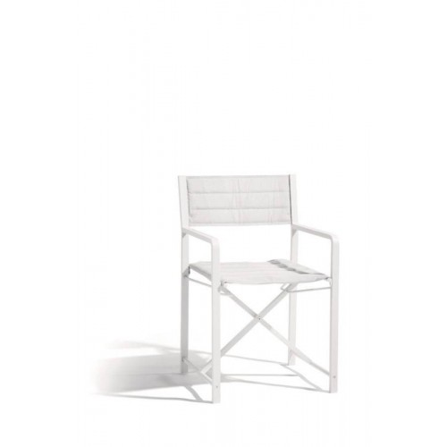 Chaise pour l'extérieur Cross Alu de Manutti - Cadre blanc et assise batyline blanc