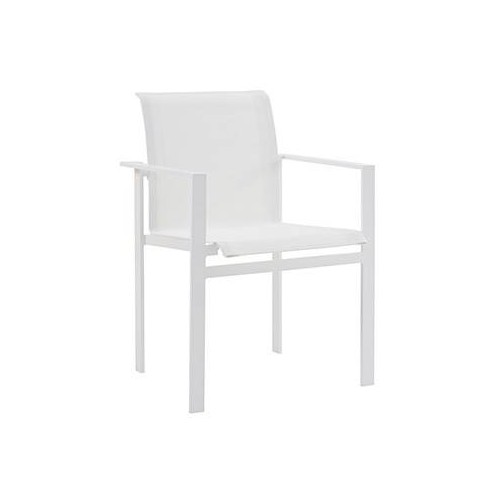 Dining armchair Kwadra by Sifas - White lacquered aluminium, white Textilene seat