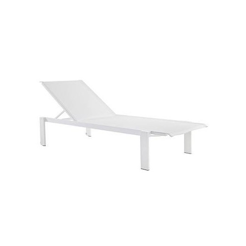 Deck chair Kwadra by Sifas - White lacquered aluminium, white Textilene seat