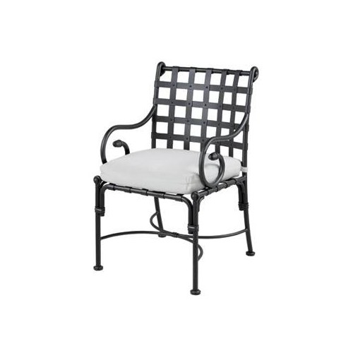 Dining armchair Kross by Sifas - Black forged aluminium, white seat cushion