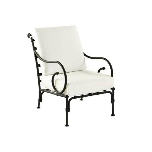 Armchair Kross by Sifas - Black forged aluminium, white seat cushions