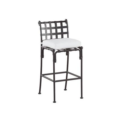 Bar stool Kross by Sifas - Black forged aluminium, white seat cushion