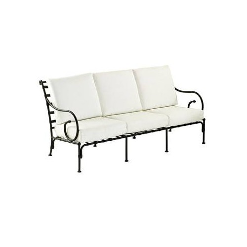 Sofa 3 seats Kross by Sifas - Black forged aluminium, white seat cushions