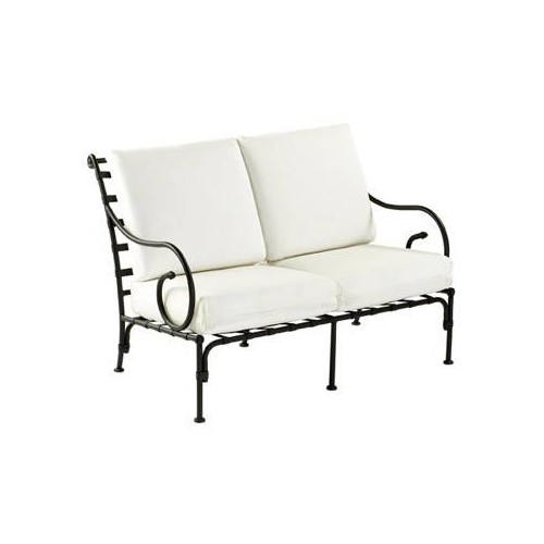 Sofa 2 seats Kross by Sifas - Black forged aluminium, white seat cushions