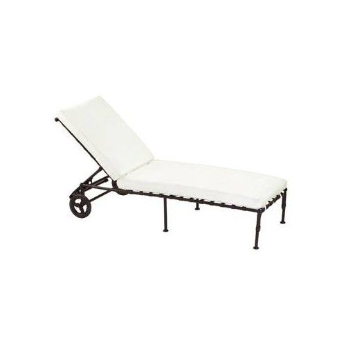 Deck chair Kross by Sifas - Black forged aluminium, white seat cushions