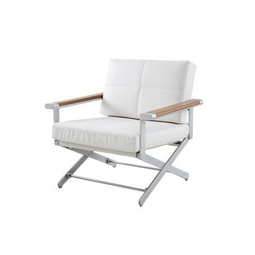 Armchair Oskar by Sifas - Anodised aluminium, white synthetic leather seat cushions