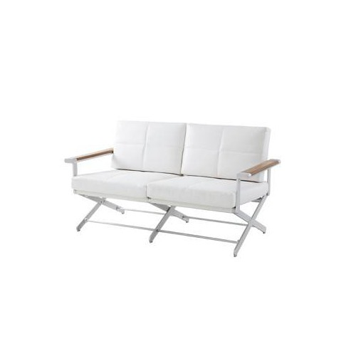 Sofa 2 seats Oskar by Sifas - Anodised aluminium, white synthetic leather seat cushions