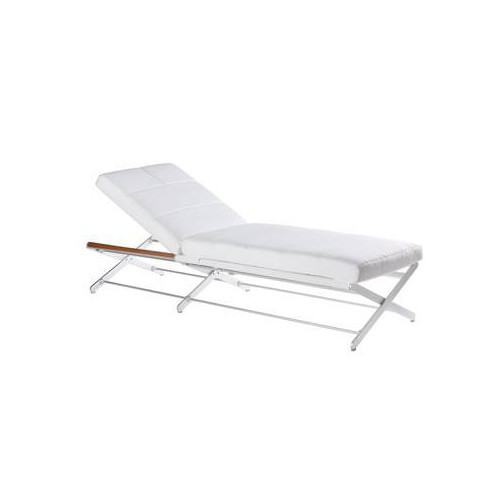 Deck chair Oskar by Sifas - Anodised aluminium, white synthetic leather seat cushions