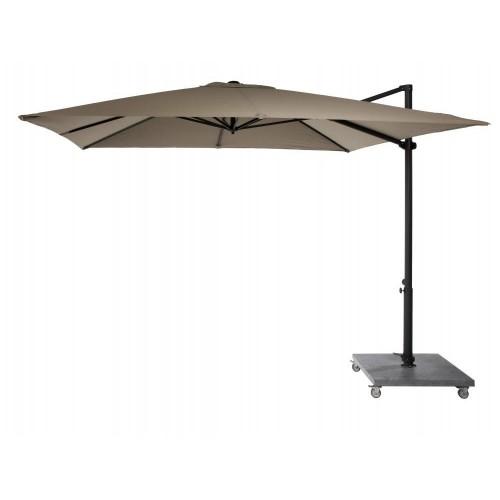 Parasol Nicosia Deluxe de Jardinico - Mat noir, toile taupe