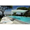 Round Antigua umbrella by Jardinico - White pole, Sunbrella natural canvas