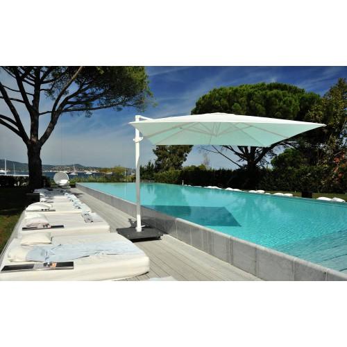 Parasol rond Antigua de Jardinico - Mat blanc, toile Sunbrella natural