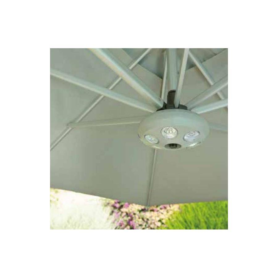 Round Antigua umbrella by Jardinico - 6 Leds light
