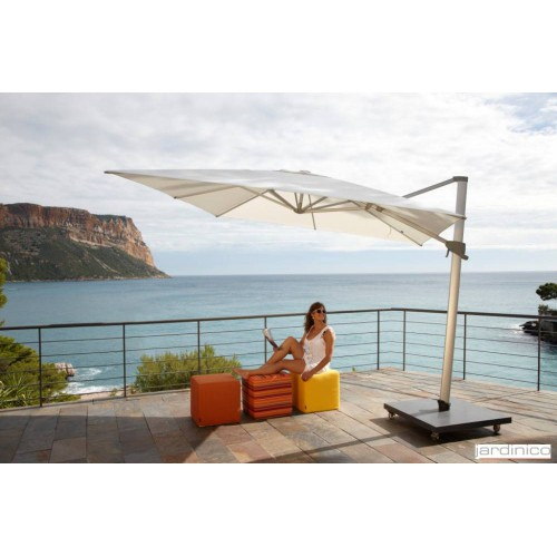 Square Aspen umbrella by Jardinico - Anodised aluminium, natural canvas