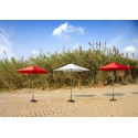 Round Bonair Push Up Plus umbrella by Jardinico - Aluminium anthracite, chili red or natural canvas