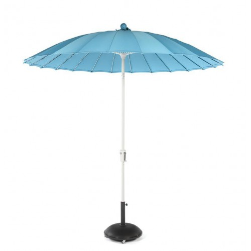 Round Waikiki umbrella by Jardinico - White aluminium, aruba canvas