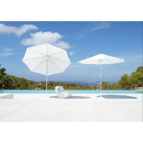 Round Riviera umbrella by Jardinico - White aluminium, natural canvas