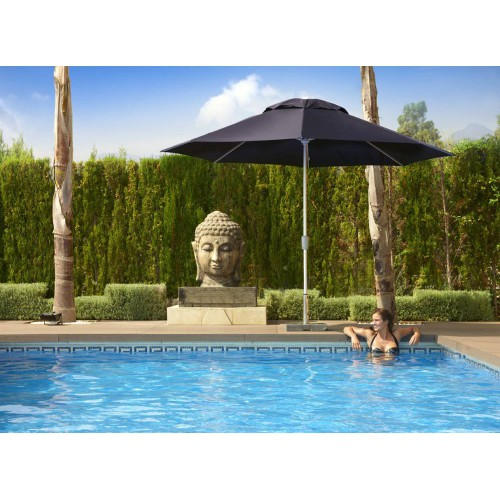 Square Riviera umbrella by Jardinico - Anodised aluminium, black canvas