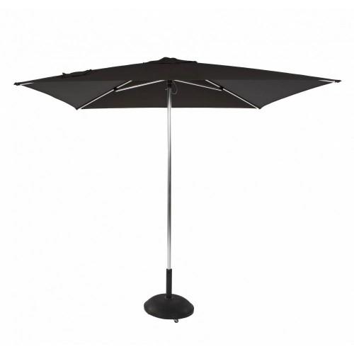 Parasol rond Tiki Push Up de Jardinico - Aluminium anodisé brillant, toile noire