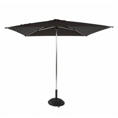 Round Tiki Push Up umbrella by Jardinico - Anodised shiny aluminium, black canvas