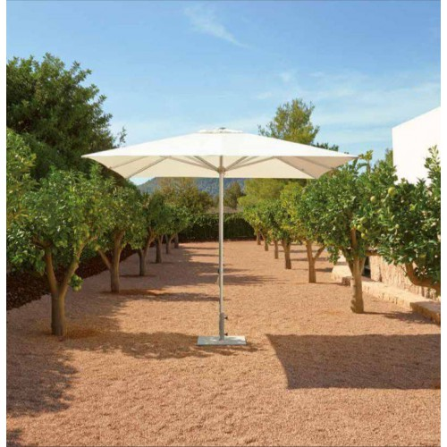 Square Tiki Push Up Plus umbrella by Jardinico - Anodised shiny aluminium, natural canvas