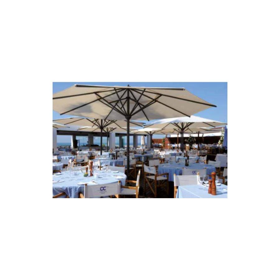 Round Sombrero Jumbo umbrella by Jardinico - Anthracite aluminium, natural canvas