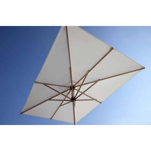 Rectangular Cuba umbrella by Jardinico - Eucalyptus wood, white olefin or natural Sunbrella canvas