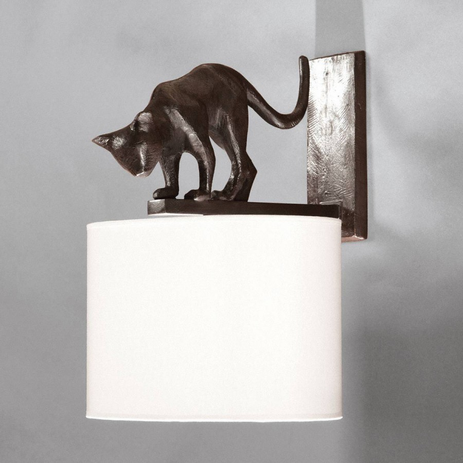 Bronze wall lamp cat Lili - Brown bronze