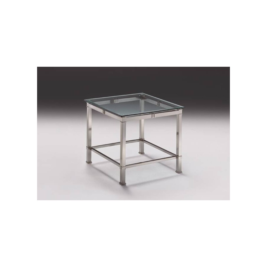 Square coffee table brass Roma - Mat nickel brass and parts in bright brass, beveled glass