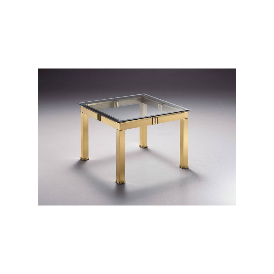Square coffee table brass Roma - Mat brass and parts in bright brass, beveled glass top