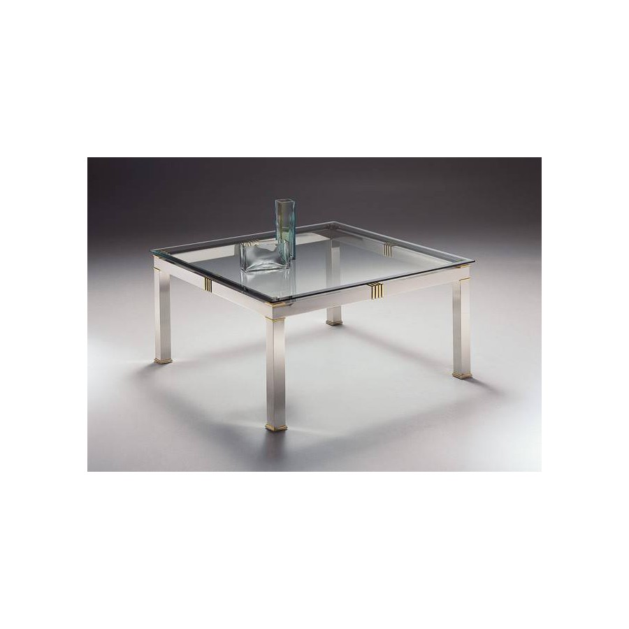 Square coffee table brass Roma - Mat nickel brass and parts in bright brass, beveled glass top